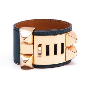 Pulseira Hermès Collier De Chien Couro Azul com Studs dourado