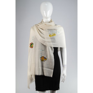 Pashmina Janavi Cashmere/Bordado Off Whitw /Bordado