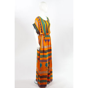 Vestido Longo Anupampa Estampado em Seda Laranja
