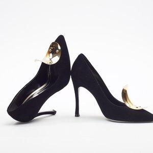 Sapato René Caovilla em camurça preto