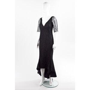 Vestido longo Martha Medeiros em renda preto