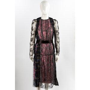 Vestido Longo Lanvin Tule/Bordado Prata/Rosa/Preto