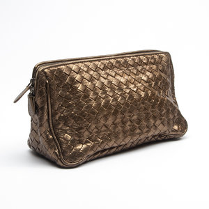 Necessaire Bottega Veneta Intrecciato Leather Ouro Velho