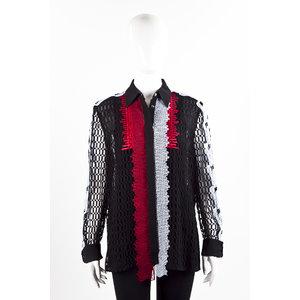 Camisa Versace em guipir preto vermelho e azul