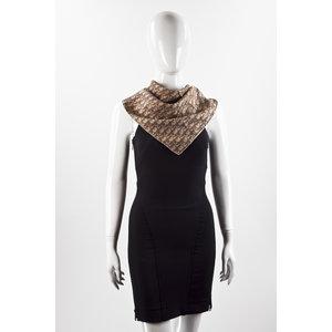 Lenço Dior de seda em logomarca marom