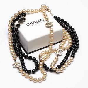 Colar Chanel Bijouteria Perola E Onix B&W