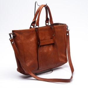 Bolsa Longchamp Satchel 3 D em Couro Caramelo