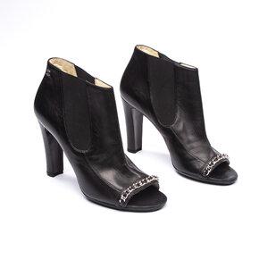 Ankle Boot Chanel Couro Preta