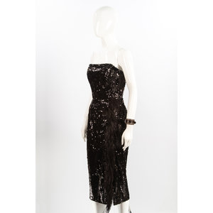 Vestido 16Arlington em Paete Com Plumas Preto