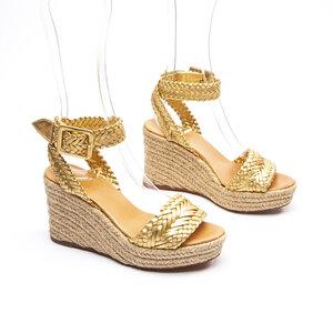 Wedge Hermès Couro Dourada