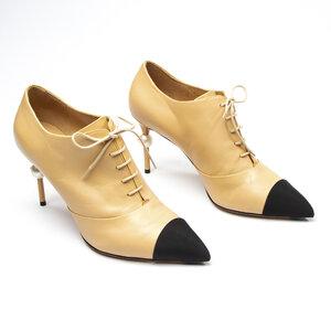 Ankle Boot Chanel Couro Bege/Preto
