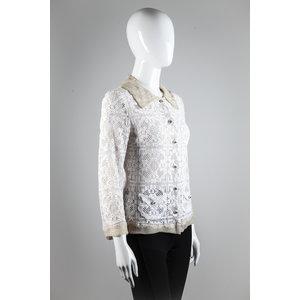Blazer Dolce & Gabbana em quipir com musseline bege e branco
