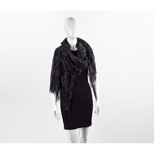 Lenço Louis Vuitton cashmere & seda cinza e preto