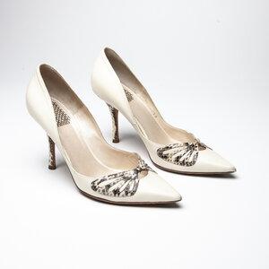 Sapato Dior em Couro com Phyton Off White