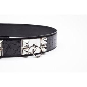 Cinto Hermès Collier Chien em Crocodilo preto