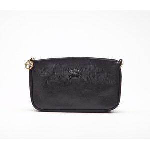 Pochette Longchamp em couro preta