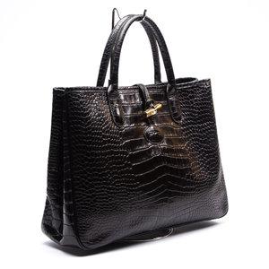 Bolsa Longchamp Croco Preta