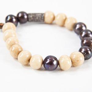 Pulseira Shamballa pedras bege e marron