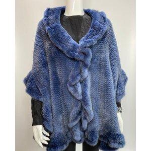 Pelerine Saga Furs Vison Tricotee Azul Bic e Preto