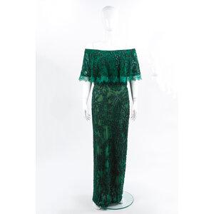 Vestido Longo Elie Saab Bordado Verde