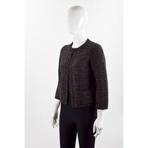 Blazer Chanel em tweed preto com marrom