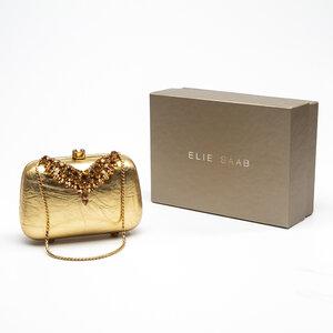 Clutch Elie Saab Couro/Strass Dourado