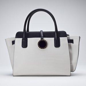 Bolsa Bvlgari Alba satchel branca e preto