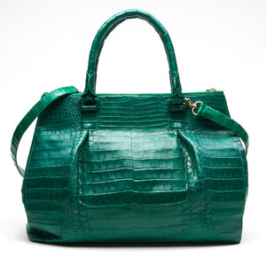 Bolsa Nancy Gonzalez Crocodile Tote Verde