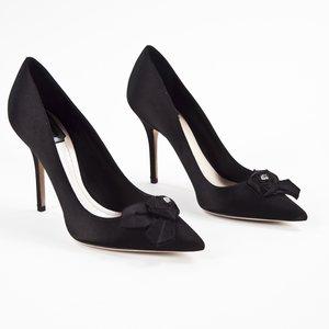 Sapato Dior em cetim preto