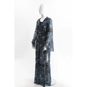 Vestido Longo Vass A Kostara Seda Estamp/Azul