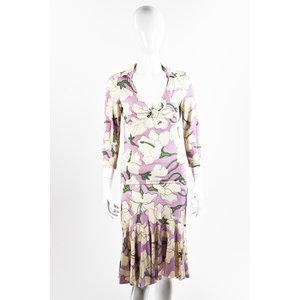 Conjunto com saia Moschino em seda estampado em rosa e bege