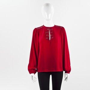 Camisa DVF seda vermelha