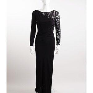 Vestido Pucci longo preto c/ detalhes em renda