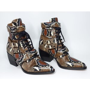 Bota Curta Chloé Rylee Leather Couro/ Marrom/Preto