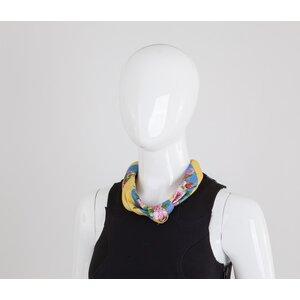 Lenço Dolce & Gabbana de seda estampado azul e amarelo