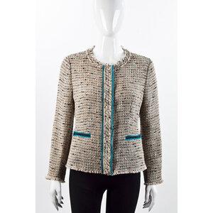 Jaqueta Prada em tweed bege e azul