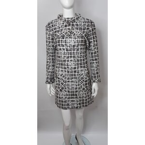 Vestido Com Bolero Chanel Tweed B&W