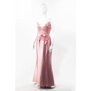 Vestido Longo Martha Medeiros com renda rosa