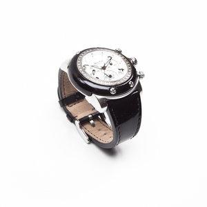 Relógio Glan Rock com pulseira em verniz preta