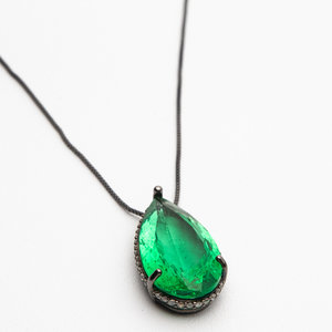 Corrente Carat Bijouteria Ródio e Pedra Verde