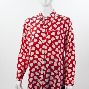 Camisa Equipment em seda vermelho e branco