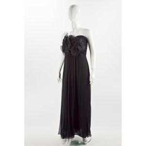 Vestido longo Marchesa em seda preto