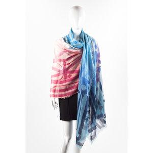 Echarpe Louis Vuitton em cashmere com tons azuis e rosa