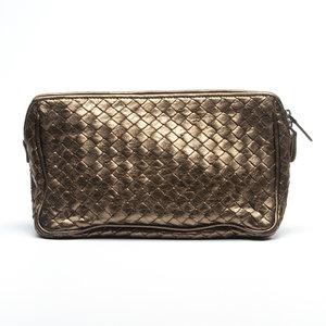 Necessaire Bottega Veneta Intrecciato Leather Ouro Velho