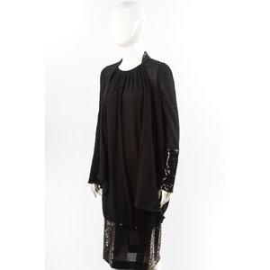Vestido Chanel manga comprida em Malha/Paete Preto