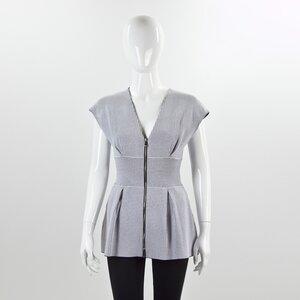 Top Dior sem manga em strech branco e preto