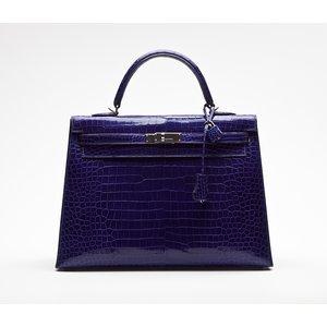 Bolsa Hermes Kelly 35 croco azul
