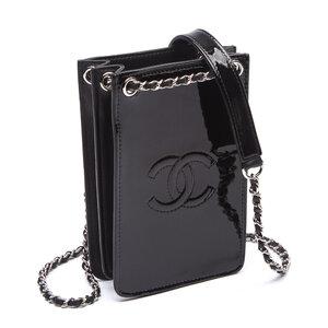 Crossbody Chanel Phone Holder Verniz Preta