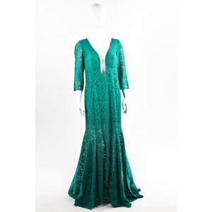 Vestido longo Martha Medeiros em renda verde
