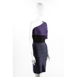 Vestido Herve Leger Strech Graf /Roxo /Preto